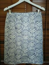 Jigsaw Blue & White Ornate Floral Print Pencil Skirt - Size 10