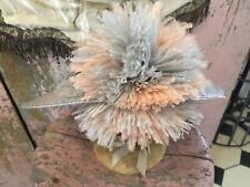 Adorable Antique Ladies Gray Straw Hat Pink Ostrich Feathers Netting #T
