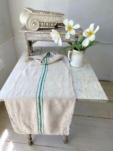 Grain Sack Vintage green  stripes handwoven European soft homespun hemp PATCHED