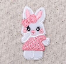 Small Girl Easter Bunny White Rabbit/Animals Iron on Applique/Embroidered Patch