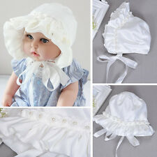 Baby Girl Newborn Kids White Pearl Lace Hat Cap Beanie Bonnet Hair Accessories