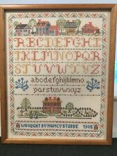 Vintage COMPLETED Sampler Village Landscape Embroidery Cross Stitch Alphabet