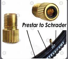 Lot Of (2) New Brass Presta to Schrader Bike Valve Adapter MTB / Road Valve Stem