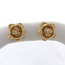 14k Yellow Gold 3d Rose Flower Diamond Stud Button Earrings NEW 3gr