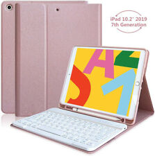 Bluetooth Keyboard Case for iPad 10.2 2019 7th Gen w/ Apple Pencil Holder Cover