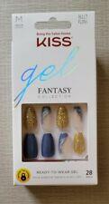 KISS Gel Fantasy Glue On Nails Blue Gold Glitter Medium Length New