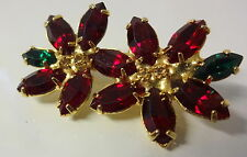 Vintage Juliana Ruby Red Rhinestone Christmas Poinsetta Flower Pin Brooch