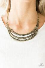 Paparazzi jewelry brass crescents tribal inspired Necklace w/ earrings