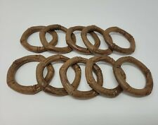 """Lot of 10 Vintage Brown Plastic Bamboo Faux Wood 3"""" Round Macrame Craft Rings"""