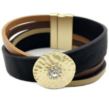 Gold Alloy Plated Cross Leather Bracelet Bangle with Magnetic Buckle Jewellery