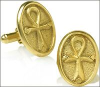 Janus Cufflinks Roman god of New Beginnings in Rustic 24k Gold-plate Made in USA