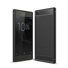 Sony Xperia XA1 Plus Handy Hülle TPU Case Carbon Fiber Schutz Cover Schwarz Neu