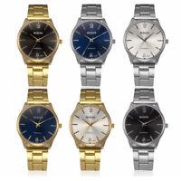 Herren Fashion Casual Kristall Edelstahl Analoges Quarz Round Armbanduhr-Armband