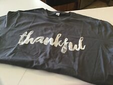 Unisex Fruit Of The Loom Gray T Shirt Thankful On Front Size Large