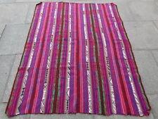 Old Tribal Traditional Hand Made Oriental Pink Red Wool Jajim Kilim 183x144cm