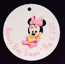 10 Baby Minnie Mouse Baby Shower Favor  Tags - Text Customized