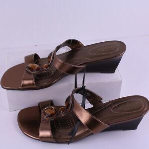 "Wedges 2.5"" Sandals Slip-on Open Toe Sz 8.5 M US 39 EUR 6UK Bronze Amber Stones"