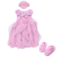 baby girls summer dress bodysuit+headband+shoes party dress baby photo props