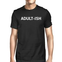 Adult-ish Men's Black Shirts Funny Graphic Printed Short Sleeve Tee