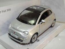 "2007 Fiat 500 Silver Die Cast Metal Model Car 5""  New In Box"