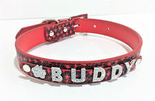 Personalized Dog Collar FREE NAME Custom Collar FREE 6 Rhinestone Charm XS/S/M/L
