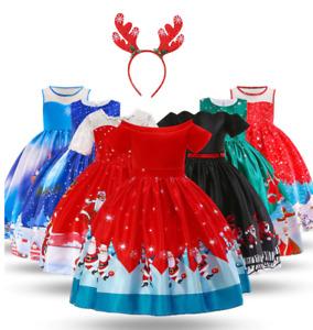 Christmas Children Girls Baby Holiday Birthday Princess Party Dress + Headband