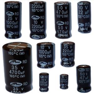 Elektrolyt Kondensatoren Radial 1µF- 4700µF/ 6,3V...50V Elkos  Radial 105°C