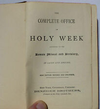 1875 The Complete Office of Holy Week Roman Missal Breviary Latin & English