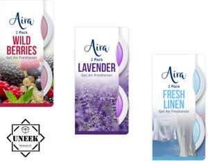 2pk Gel Air Freshener Stick Up Lavender Berries Linen Fresh Scent Room Bin CarUK