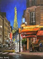 Pete Rumney Art Painting Perfect Paris Streets Eiffel Tower Cafe Couple Night NR