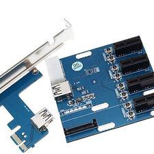 PCI-E 1X Expansion Kit 1 to 4 Ports Switch Multiplier Hub Riser Card USB 1SET