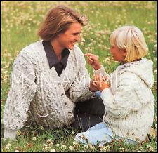 Knitting Pattern • Ladies Aran Cable Cardigan & Childs Aran Cable Hoodie Jacket