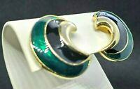Clip on Earrings Enamel Half Moon Curved Black Green Gold Tone Accents Vintage