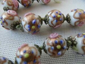 ANTIQUE VINTAGE ITALIAN VENETIAN MURANO GLASS 27 BEADS HAND PAINTED NECKLACE
