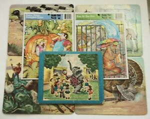 Lot of 9 Vintage Children's Cardboard Tray Puzzles ~ Animals Farm Zoo etc 1966