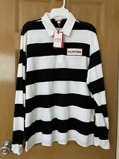 NWT!! $26 Size L Hunter for Target Men's Rugby Striped Polo Shirt White Stripe