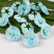 Blue 20 Pcs Artificial Silk Fake Small Rose Flower Floral Heads Bulk Craft Decor
