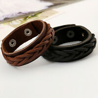 EE_ EG_ Men's Cool Style Bracelet  Knitted Leather Bangle Punk Wristband Cuff St