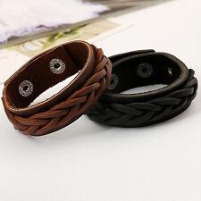 Men's Cool Bracelet  Knitted Leather Bangle Punk Wristband Cuff Stunning Black