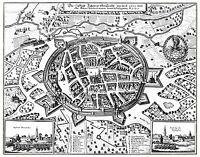 MAP ANTIQUE MERIAN 1647 ZITTAU CITY PLAN OLD LARGE REPLICA POSTER PRINT PAM1077