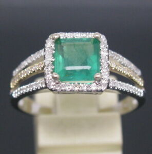 Solid 14K  2-Tone Gold Genuine Natural Green Emerald Engagement Diamonds Ring