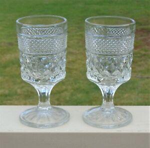 Lovely Vintage Anchor Hocking Stemmed Wine Glasses x 2 *Wexford Pattern