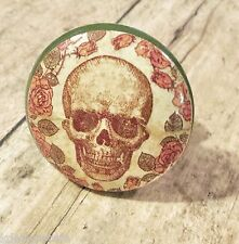 4 Handmade Skull and Roses Knob Drawer Pulls, Birch Wood, Cabinet Skeleton Knobs