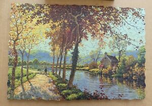 VICTORY Super-Cut wooden jigsaw puzzle AUTUMN SCENE 300 pc.  c 1938 GOLD BOX