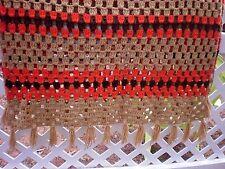 Vintage Crochet Afghan Throw Blanket Orange Tan Brown Tassels 72'' X 33'' # 18