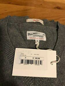 Gant Rugger Men's The Vee V Neck Dark Grey Sweater Size S NWT