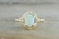 1.25CT Oval Cut Fire Opal & Diamond Halo Vintage Women Ring 14k Yellow Gold Over
