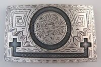 Jalisco Vintage Sterling Silver Aztec Sun Stone Quality Western Belt Buckle