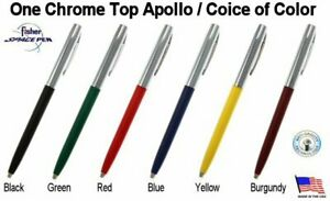One (1) Fisher Apollo Series Chrome Top Space Pen / Your Choice of Color
