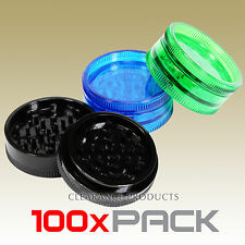 100 PACK - 2 Piece Acrylic Grinder 57mm Herb Spice Tobacco Plastic Crusher